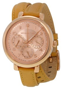 Michael Kors Rose Gold Case Tan Brown Wrap Leather Strap Casual Designer watch