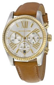 Michael Kors Silver and Gold Brown Leather Strap Designer Watch