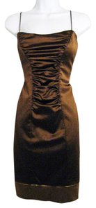 Nicole Miller Spaghetti Strap Stretchy Fabric Cocktail Front Back Ruching Dress