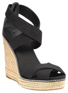 Tory Burch Canvas Espadrille Adonis Black Wedges