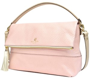 Kate Spade New Southport Avenue Maria Tassel Satchel Flap Zip Handbag Purse Cute Chic Classic Pebbled Leather Shoulder Strap Pink Messenger Bag