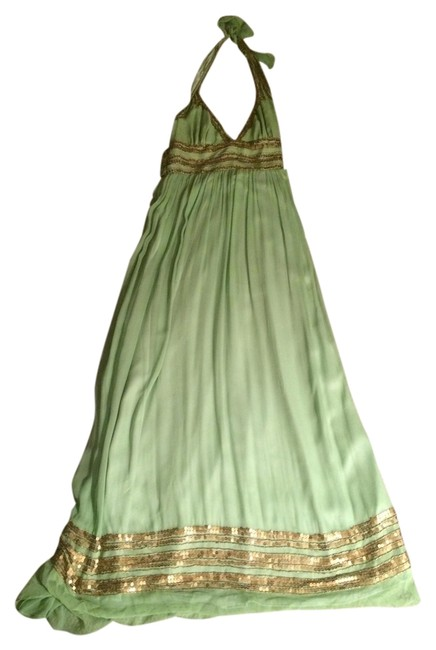 Item - Sage Green and Gold Chiffon Long Formal Dress Size 6 (S)