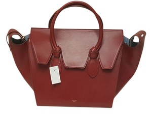 Céline Calfskin Leather Tote in Red