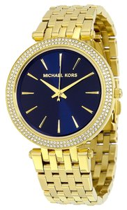 Michael Kors Crystal Pave Gold tone Navy Blue Dial Stainless Steel Designer Dress Watch
