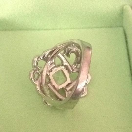 Unknown White Sapphire And Marcasite Sterling Cocktail Ring