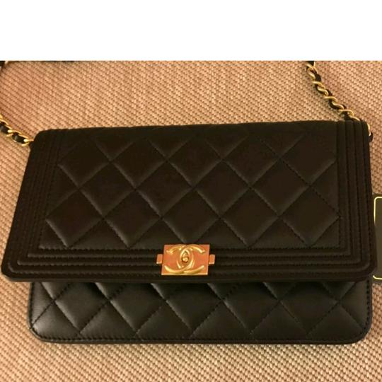 9b1839dde88f Chanel Black Gold Hardware Lambskin Leather Wallet on Chain Clutch - Tradesy