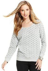 Style & Co Cotton/Polyester Machine Washable Imported Scoop Neckline Pullover Long Sleeves Polka-dot Print Allover Banded At Cuffs Sweatshirt