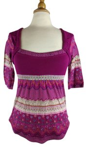Free People Crochet Hippie Xs Floral Top Pink Multi