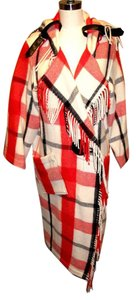 Jean Charles de Castalbajac Fringe Plaid Red Runway Look Coat