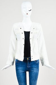 Rachel Zoe Zoe Textured Distressed Tailored White Jacket