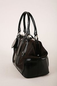 Balenciaga Dark Leather Structured Hinged Frame Satchel in Brown