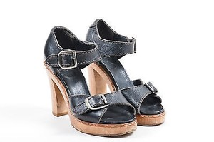 Chloé Chloe Leather Silver Tone Buckle Strap Wooden Heels Brown Sandals