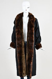 Saint Laurent Vintage Yves Brown Mink Fur Lined Long Coat