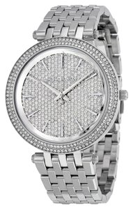 Michael Kors Crystal Pave Dial Silver tone Stainless Steel Designer Dress Watch
