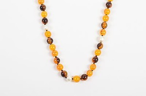 Chanel Vintage Chanel Yellow Brown Resin Faux Pearl Beaded Single Strand Necklace