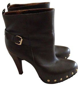 Charles David Leather Studded Belted Dark Brown Boots