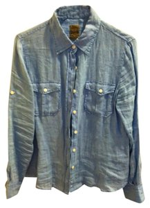 JACH's Linen Button Down Shirt blue