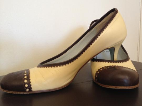 "Cynthia Rowley Spectator Round Toe & 2"" Heel Leather Blue Brown and Yellow Pumps"