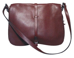 Sirni Clemence Leather Messenger Crossbody Italian Maroon Messenger Bag