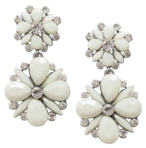 T&J Designs White Floral & Crystal Drop Earrings