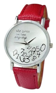 New Who Cares Im Late Anyways Watch Red Silver Tone J2144