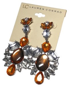 LC Lauren Conrad New Lauren Conrad Bib Style Earrings Orange Silver Long J2145