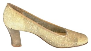 Nina Glitter Satin Toes/heels Classic Leather Soles Gold Sparkle Mesh Pumps
