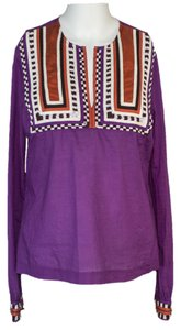 Tory Burch / /beige /brown Cotton Long Sleeves Top purple / orange /beige /brown