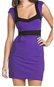 French Connection short dress Purple Color-blocking on Tradesy