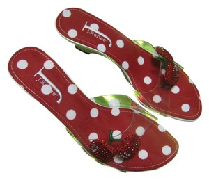 J. Renee White and Clear with white Polk-a-Dots on a red insoles Sandals