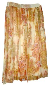 A.B.S. by Allen Schwartz Gold Orange Paisley Sequin Floral Skirt orange, gold