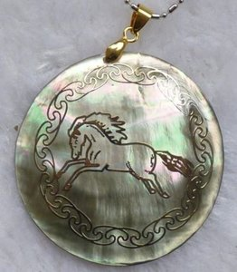 Mother Of Pearl Gold Etched Horse Pendant Free Shipping