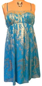 Aidan Mattox Prom Wedding Blue Gold Dress