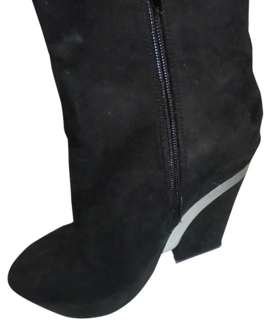Item - Black Ankle Suede with Silver Platform Ankle Wedge Boots/Booties Size US 6.5 Regular (M, B)