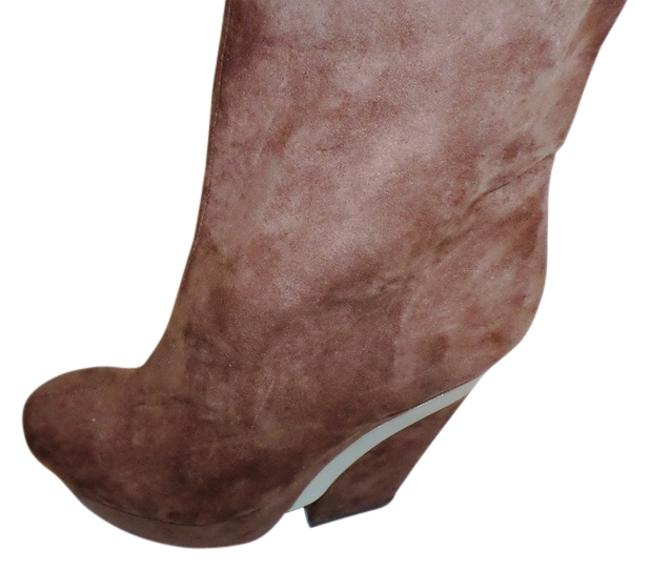 Item - Brown Faux Suede with Silver Platform Ankle Wedge Boots/Booties Size US 8 Regular (M, B)