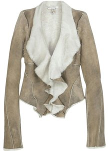Diane von Furstenberg Fur Dvf Ivory and Taupe Leather Jacket