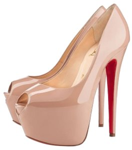 Christian Louboutin Nude Patent Leather Peep Toe Beige Pumps