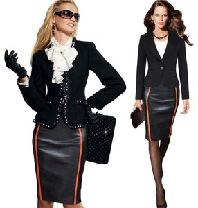 VfEmage Pencil Bodycon Faux Leather Color-blocking Skirt Black