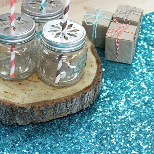 Turquoise 120' Round Sequin Bling Glam Sparkle Tablecloths