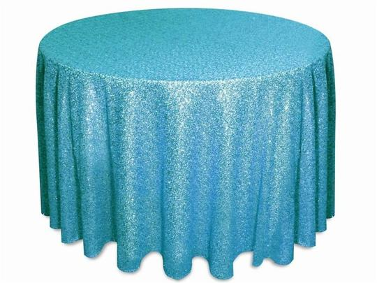 Turquoise 120' Round Sequin Bling Glam Sparkle Tablecloth Image 1