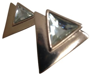 Triangle art deco gold toned earrings