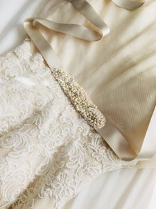Watters Vanilla Bean Coco Chrystal Pearl Beaded Satin Belt Sash