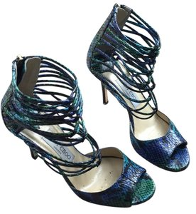 Jimmy Choo Sexy Strappy Heels Formal Green , turq and purple python Pumps