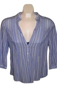 Abercrombie & Fitch Top Baby Blue/White pinstripe