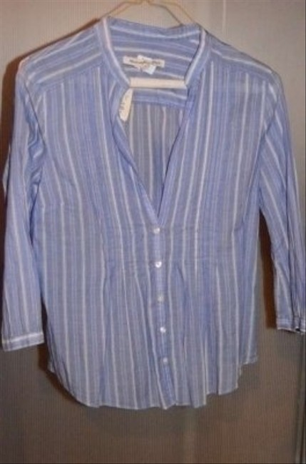 "Abercrombie & Fitch V-neck With Buttons Down Front Measurements Are 18"" Underarm To Underarm (laying Flat) Top Baby Blue/White pinstripe"