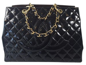 Chanel Patent Gold Tote in Black