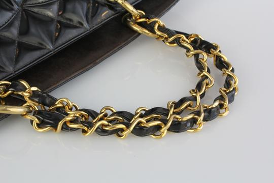 Chanel Patent Gold Quilted Tote in Black