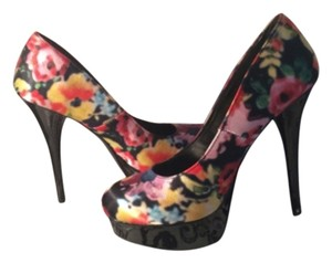 Brash Floral and black Platforms
