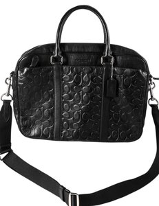 Coach Breif Messenger Signature Leather Black Messenger Bag