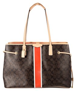 Coach Canvas Orange Monogram Tote in Brown